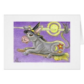Cartão Bruxa do asno do Dia das Bruxas e vassoura do vôo