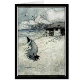 Cartão Bruxa do Dia das Bruxas Arthur Rackham do vintage