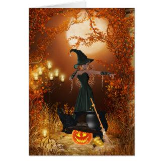 Cartão Bruxa do Dia das Bruxas do outono