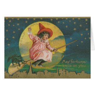 Cartão Bruxa do Dia das Bruxas do Victorian