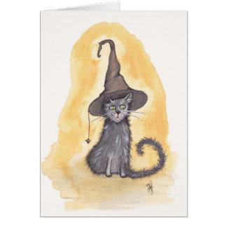 Cartão Bruxa do gatinho do Dia das Bruxas
