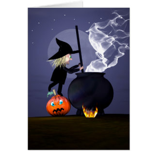 Cartão Bruxa e caldeirão do Dia das Bruxas