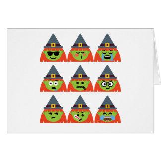 Cartão bruxa todo o Emoji o Dia das Bruxas