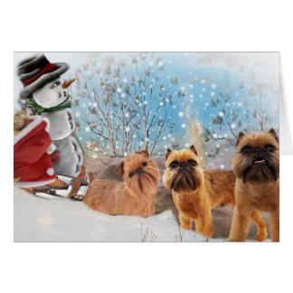 Cartão Bruxelas Natal peludo & brilhante de Griffon