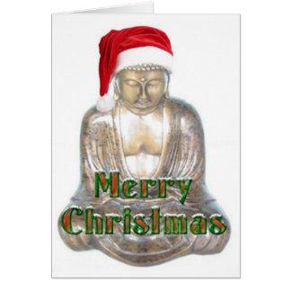 Cartão Budismo - Buddha - chapéu do Feliz Natal