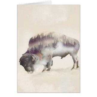 Cartão búfalo-paisagem exposição-americana Búfalo-dobro