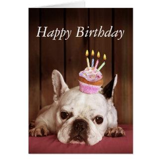 Cartão Buldogue francês com cupcake do aniversário