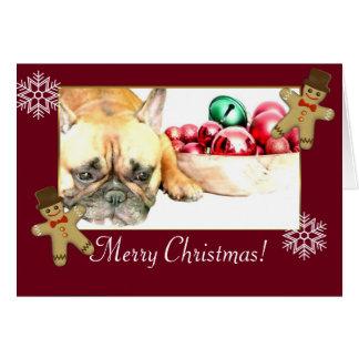 Cartão Buldogue francês do Natal