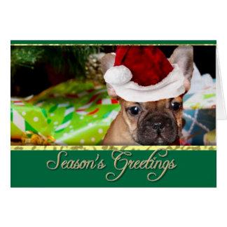 Cartão Buldogue francês do Natal dos cumprimentos da