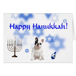 Cartão Buldogue francês feliz de Hanukkah