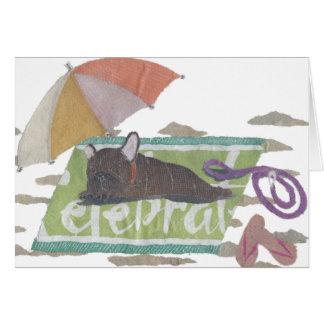 Cartão Buldogue francês, Frenchie rajado, colorido, praia