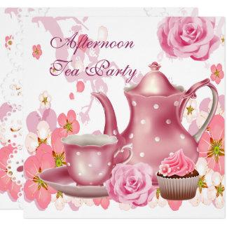 Cartão Bule do rosa do rosa do vintage do partido de
