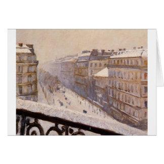 Cartão Bulevar Haussmann na neve por Gustave