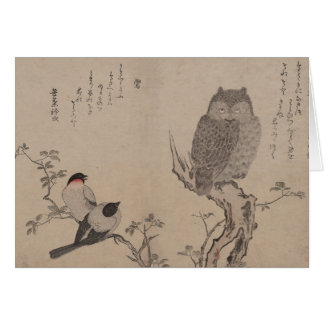 Cartão Bullfinch e coruja horned - Kitagawa Utamaro