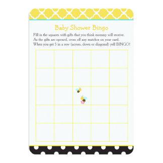 Cartão Bumble o Bingo amarelo e preto da abelha do chá de
