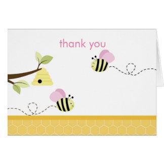Cartão Bumble o obrigado que dobrado da abelha as asas