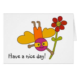 Cartão Bumble o withFlower da abelha, tenha um dia