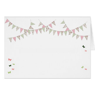Cartão Bunting - rosa & verde