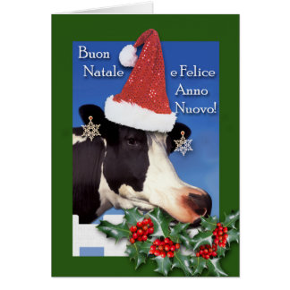 Cartão Buon Natale, Natal italiano, vaca com chapéu do