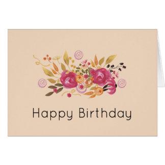 Cartão Buquê cor-de-rosa e alaranjado da flor no fundo do