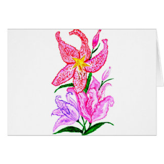 Cartão Buquê de flores do lírio