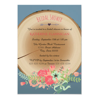 Cartão Buquê de madeira rústico - chá de panela