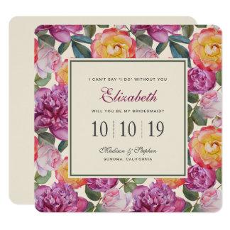 Cartão Buquê floral colorido da aguarela - dama de honra