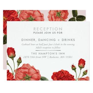 Cartão Buquê floral das rosas vermelhas do vintage do