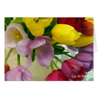 """Cartão """"Buquê pintado das tulipas """""""