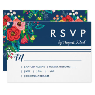 Cartão Buquê popular - Boho azul RSVP
