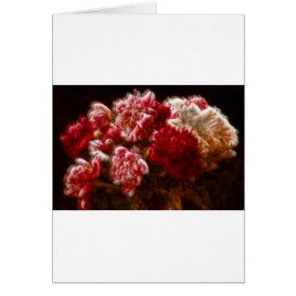 Cartão Buquê vermelho flamejante da flor da peônia