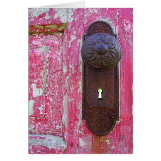 Cartão Buraco da fechadura vermelho da porta