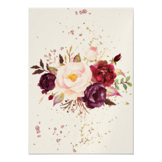 Cartão Burgundy Floral Water Paint -Simple Lines-splashes