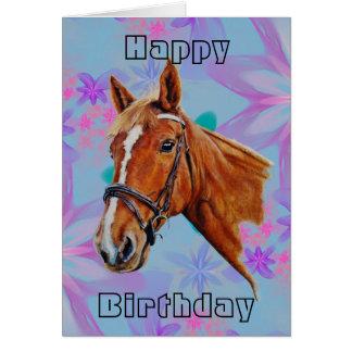 Cartão Cabeça de cavalo no feliz aniversario das flores