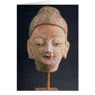 Cartão Cabeça de uma estátua de Buddha, de Bezeklik