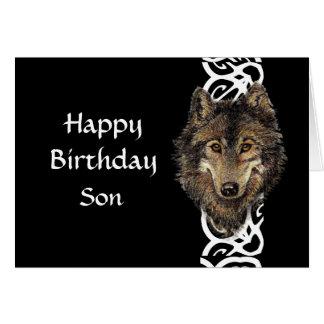 Cartão Cabeça selvagem do lobo cinzento do filho do feliz
