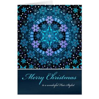 Cartão Cabeleireiro do Feliz Natal, flocos de neve azuis