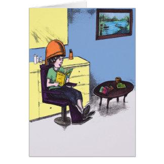 Cartão Cabelo de secagem em um salão de beleza