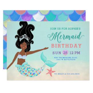 Cartão Cabelo preto com festa de aniversário escura da