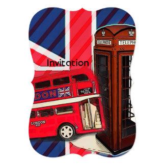 Cartão Cabine de telefone vermelha do ônibus retro de