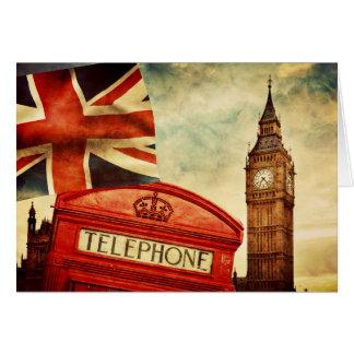 Cartão Cabine e Big Ben de telefone vermelha em Londres,