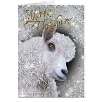 Cartão Cabra bonita do angora do Feliz Natal   BabyGirl