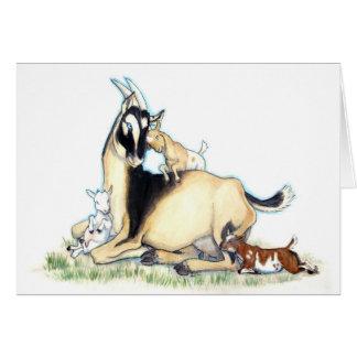 Cartão Cabra nigeriana bonito e miúdos do anão