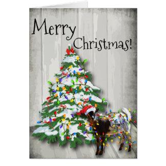 Cartão Cabra pequena engraçada do Natal