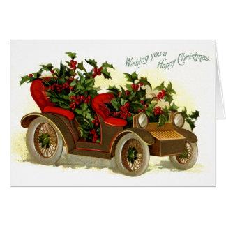Cartão Cabriolet enchido com o natal vintage do azevinho