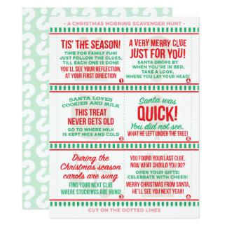 Cartão Caça ao tesouro da manhã de Natal