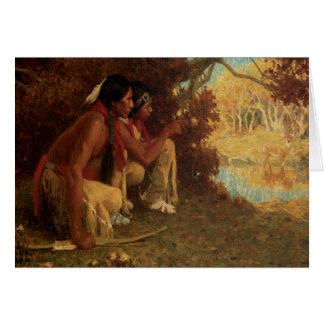 Cartão Caçador dos cervos do nativo americano do vintage