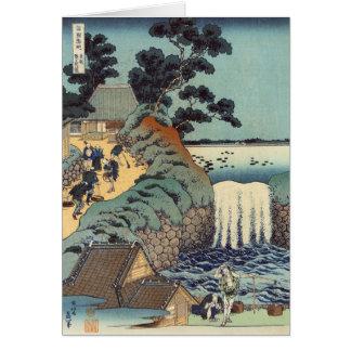 Cartão Cachoeira do gaok de Aoi, Katsushika Hokusai
