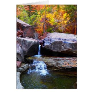 Cartão Cachoeira do outono, o metro Zion NP, vazio para