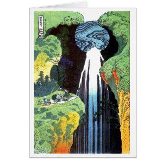 Cartão Cachoeira na estrada de Kisokaido, Hokusai de